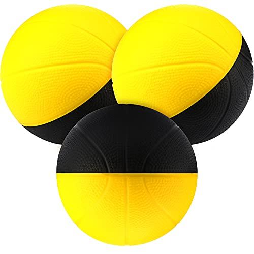 3 Mini Pelotas de Baloncesto de Espuma Repuesto de Mini Balones de Baloncesto de Espuma Amarillos y Negros para Aro Rebotador Juego de Baloncesto Favor de Fiesta Juguete de Juego, 3,5 Pulg.