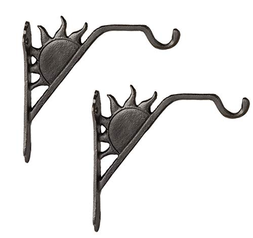 Mkono Decorative Iron Wall Hooks 6 Inch for Hanging Lanterns Bracket Hummingbird Feeders Wind Chime Plant Hanger Sun Shape Ornament Indoor Outdoor Rustic Home Decor, 2 Pack