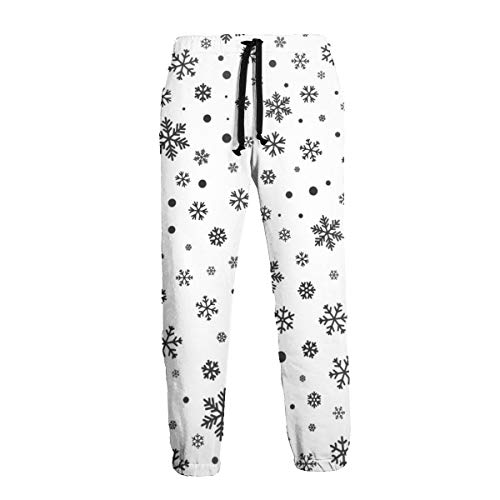 qingdaodeyangguo Mens Sweatpants Snowflake Seamless Pattern Winter Joggers Pants with Pockets Slim Fit Casual Trousers with Drawstring
