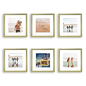 Sheffield Home Decor Collection- 6 Piece Picture Frame Set Gallery Set 8x8in Matted to 4x4in  Natural