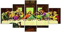 リビングルームのキャンバスプリントカトリック信仰現代絵画5ピースポスターとプリントジークレーアートワークのための最後の晩餐絵画イエスの壁の写真