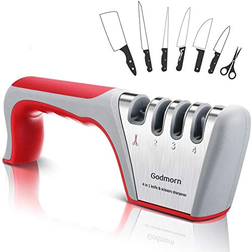 Godmorn Afilador de Cuchillos Profesional, 4 en 1 Knife Sharpener, Afilador Cuchillos Manuales de Cocina de 4 Etapas para Muchos Tipos de Cuchillos,Apto para Uso en Cocina y Exterior.