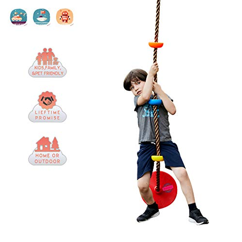 HAPPY PIE PLAY&ADVENTURE Kids Four Knotted Platforms Climbing Rope for Playground Sets / Tree House Exercise Toy (Multicolor, Red Base)
