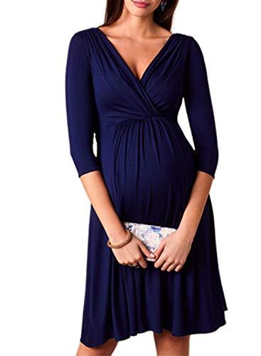 CORAFRITZ Sexy Umstandskleid, 3/4-Ärmel, V-Ausschnitt, geriffelte Seiten, tägliches Tragen, Sommer, Minikleid, kurz, einfarbig, für Frauen Gr. X-Large, blau