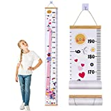 JJGoo Baby Growth Chart Hanging Ruler Wall Decor for Kids/Girls, Canvas Removable Growth H...