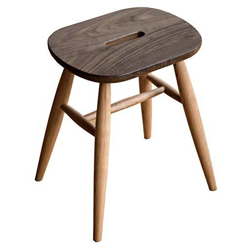 QQXX Kruk moderne mode massief hout kleine kruk woonkamer eettafel kruk make-uptafel kruk voor schoenen bank (kleur: zwart en hout, maat Afmetingen: 393243 cm. 1 1