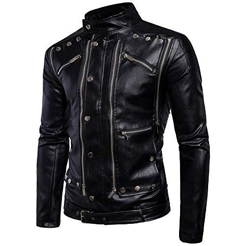 X&Armanis Freizeitjacke, Herrenjacke aus Leder mit Stehkragen und Reißverschluss Punk-inspirierte Motorrad-Lederjacke,XL