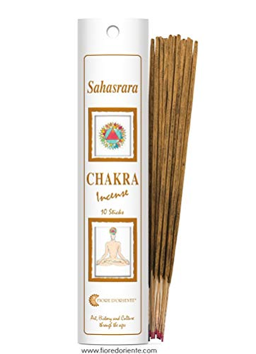Fiore D'Orient Sahasrara Chakra Incensi, 20 bastoncini, Bianco