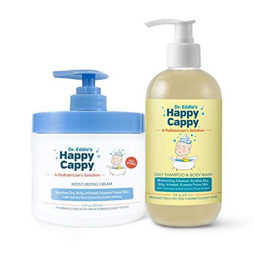 Happy Cappy Eczema Bundle   12 oz Jar of Moisturizing Cream & Daily Eczema Cleanser