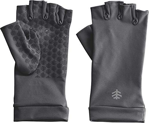 Coolibar UPF 50+ Men's Women's Ouray UV Fingerless Sun Gloves - Sun Protective (Small- Charcoal)