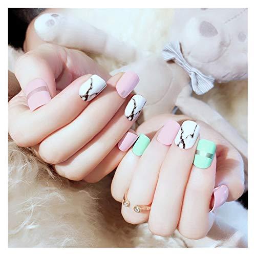 JUN-STORE Senmiao-Nail 24pcs / Caja Chicas Dulce Linda Jalea Modelo de mármol diseño Falsos Prensa sobre Mujeres Herramienta de manicura Falsas Pegatinas de uñas
