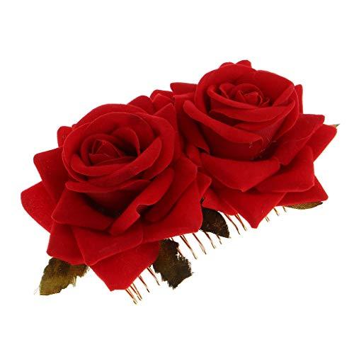 P Prettyia Peigne à Cheveux Clip de Broche en Alliage Tissu Accessoire pour Peignes de Mariée pour Femmes Filles Double Rose - rouge