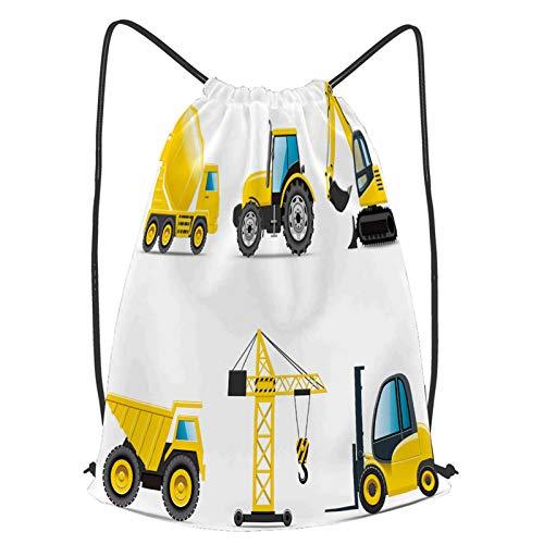 fudin Impermeable Bolsa de Cuerdas Saco de Gimnasio Construcción del tractor del mezclador de la excavadora de la grúa del camión de la maquinaria pesada del Deporte Mochila para Playa Viaje Natación
