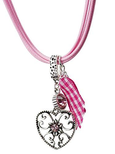 Trachtenkette Alpenherz eleganter und funkelnder Edelweiss Anhänger mit Strass - Trachtenschmuck Kette für Dirndl und Lederhose (Rosa)