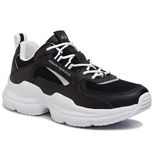 ARMANI EXCHANGE Chunky Sneakers, Scarpe da Ginnastica Basse Uomo, Nero (Black+White Logo 00002), 45 EU