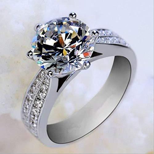 Witgouden diamanten ring met diamanten damesmode wilde sieraden ring geschikt om cadeau te geven aan zijn vrouw witgoud,US code 5
