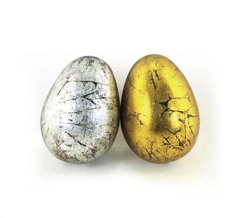 Signes Grimalt - Oggetto decorativo x 2 UOVO, color oro/argento, 8 cm 38936SG