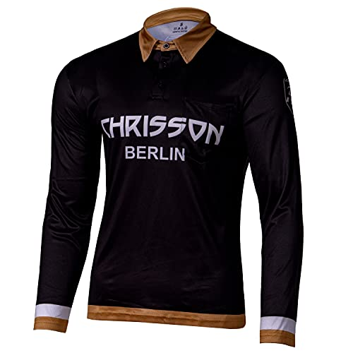 CHRISSON Essential XXL Gold Laufshirt Langarm Fahrradtrikot für Herren, Atmungsaktives Polohemd für Männer, Funktionsshirt mit Brusttasche, CoolDry Polo-Shirt für Laufen, Training, Running