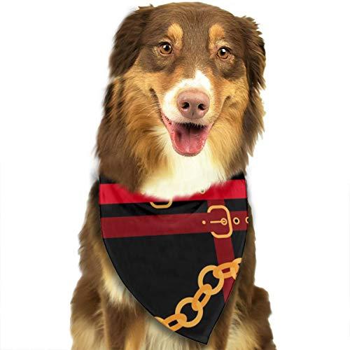 N/B Gouden Kettingen Met Rode Riemen Op Een Zwarte Aangepaste Hond Hoofddoek Heldere Gekleurde Sjaals Leuke Driehoek Bibs Accessoires Voor Huisdier Honden