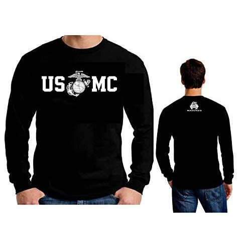 4513d562daaef Lucky Ride Marine Corps Bull Dog Front and Back USMC Men's T-Shirt  Longsleeve