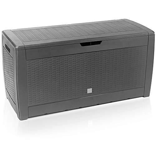 Deuba Baúl de almacenaje Gris arcón con Capacidad de 310L Cofre Banco Almacenamiento Polipropileno contenedor de jardín