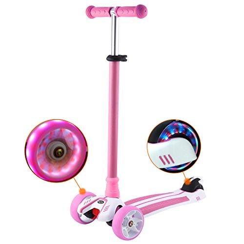 WeSkate Roller Kinder Dreiradscooter mit PU LED Leuchtenden Räder,einstellbaren Höhe und Doppel-Hinterrad Big Rädern Kinderscooter für Kinder Jungen Mädchen 3-12 Jahre alt (Rosa)