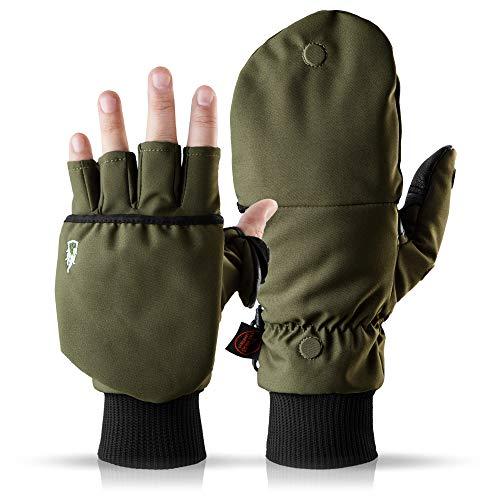 Heat 2 Fingerlose Touchscreen Handschuhe und Fäustlinge Kombination, warme Winterhandschuhe gegen den Wind und Kälte im Winter – Sporthandschuhe, Fahrradhandschuhe Damen, Herren – Grün, 7, Small