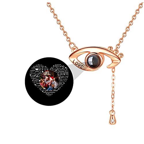 TE QUIERO Collar de proyección Collar de foto Collar personalizado Collar de 100 idiomas Collar con colgante de ojo(Oro rosa a todo color 22)