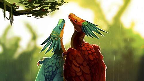 GDNUCLKE Pintar por Numeros,Cuadro para Pintar con Numeros,Pintura Acrilica,Pintura por Números,Pintar con Numeros Adultos,Regalo De Pintura ,Pájaro Dragón Arte Novela Colorido Doble Lluvia