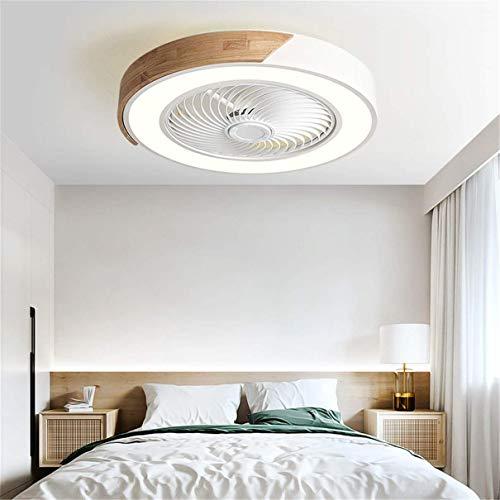 Ventilador de techo de madera para dormitorio con luces y luz de ventilador de techo de sala de estar de montaje empotrado remoto Luz de ventilador de techo regulable LED moderna, blanco