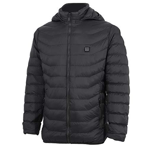 Herenvest met verwarmd vermogen, USB, elektrische verwarmingsvest, thermische jack, winter warmhoudend, vest met capuchon, dikke jas, zwart