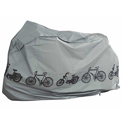 PREMIUM Fahrradplane Fahrradabdeckung Fahrradgarage Universal für E-Bike / Roller / Moped Fahrradschutzhülle, Wasserdichte Abdeckplane [110cm x 200cm] Farbe:Grau