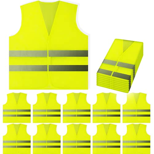 PeerBasics 10 Pack Yellow Reflective High Visibility Safety Vest, Hi Vis Silver Strip For Men Wome Work Cycling Runner Surveyor Volunteer Crossing Guard Road Construction Neon (Mesh, 10)