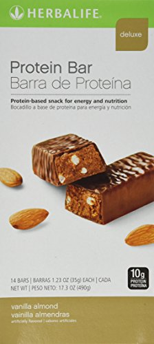 Herbalife Protein Bar Deluxe - Packed with Essential Vitamins and 10g of Protein for Healthy Snacking - Vanilla Almond 14 ct.
