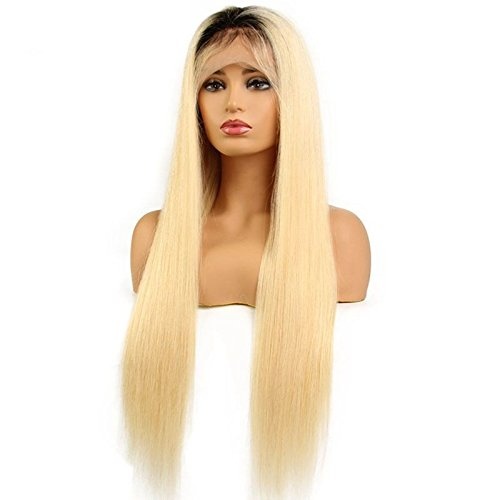 Sun Goddess 1B/613 Cheveux Perruque Lace Front Perruque Remy Humain Brésilien & Black Black Root,Couleur Naturelle,14Cm