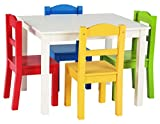 Humble Crew White/Primary Kids Wood Table & 4 Chair Set