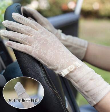 WSDMY Frühling und Sommer Damen Spitze Sonnenschutzhandschuhe Dame Anti-UV-rutschfeste Fahrhandschuhe Mädchen sexy Spitzenhandschuhe R002Creme