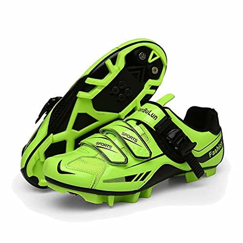 Hombre Zapatillas de Ciclismo con Calas MTB Antideslizante Specialized Zapatos de Bicicleta de Carretera Mujer Montaña Al Aire Libre Transpirable Cómodo Verde 47