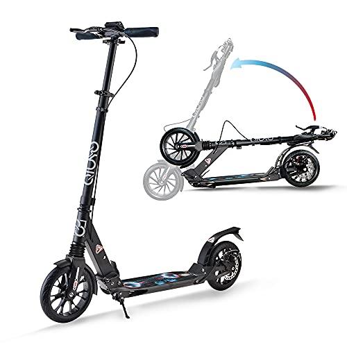 Scooter adultos con doble suspensión, 2 ruedas grandes plegable y ajustable Patinete para niños y adolescentes, disco de freno de mano y freno trasero, correa de transporte gratuita (negro)