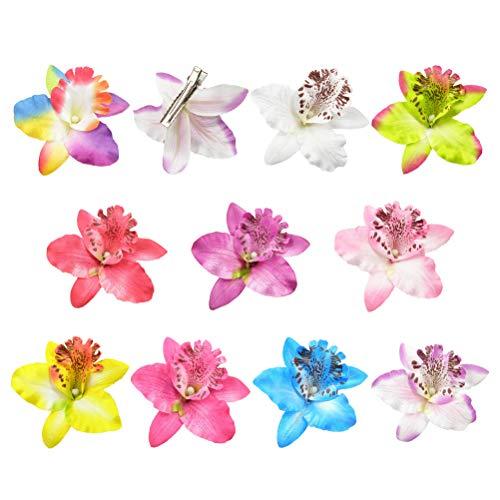 Lurrose - Fermagli per Capelli, a Forma di Fiore di Orchidea, Accessorio per Capelli Hawaiano, per Festival di Matrimonio, Spiaggia (Confezione da 10)