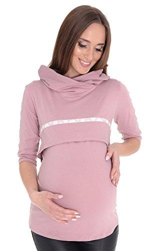 MijaCulture 2in1 3/4 Stillshirt und Umstandsshirt Sweatshirt Monica 7134 (EU40 / L, Rosa)