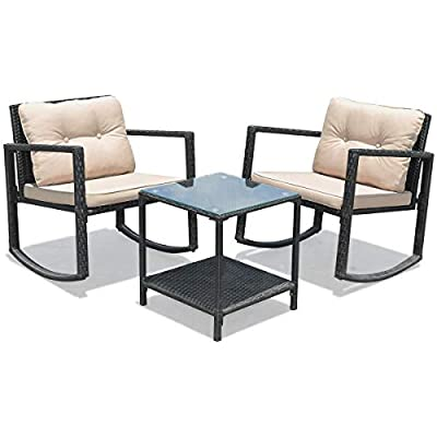 BestComfort 3 Pieces Rocking Bistro Sets, Wicker Patio Furniture Sets,Wicker Chairs with Tempered Glass Table