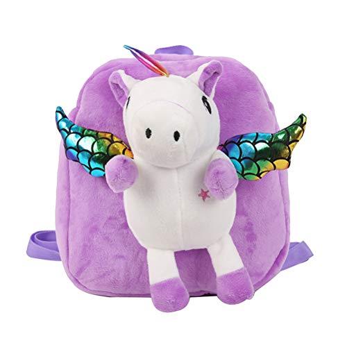 Mochila para niños pequeños, diseño de Dibujos Animados, Unicornio, de Peluche, para niños, Color Rojo Morado Violeta Large