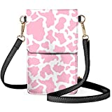 ZFRXIGN Cow Print Phone Purses with Clear Window Wallet with Cell Phone Holder Crossbody Purse Touch Screen Leather Shoulder Bag Pink and White