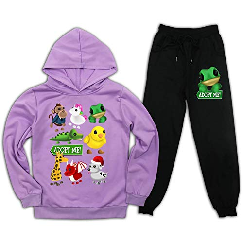 Youth Kids Pullover Hoodie R-oBl-ox Adopt me Sweatpants Suit Hooded Tracksuit Sweatshirt Set for Boys Girls L Purple and Black