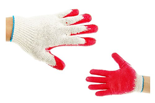 300 Pairs String Knit Red Palm Latex Dipped Gloves, Made in Korea -WRGKR300W/B