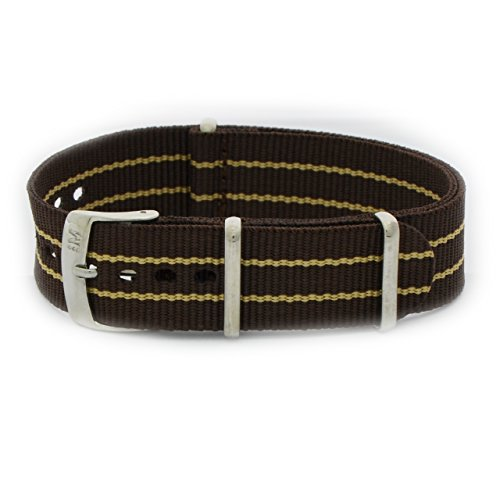 Correa Nato de tela con lazo marrón y beige y asa de 18 mm para reloj Omega Tag Heuer Rolex Tudor. Morellato