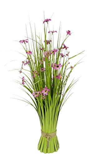 Flair Flower Grasbusch mit Cosmea Schmuckkörbchen Blüten Bund stehend Stehgras Grasbündel Dekogras künstliches Gras Pflanzen Ziergras Osterdeko Frühjahr