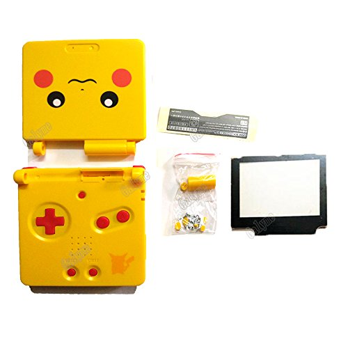 Galyme Yellow Color Pikachu Replacement Parts Full Housing Shell for GameBoy Advance SP GBA SP For Pokemon W/ Screenlens