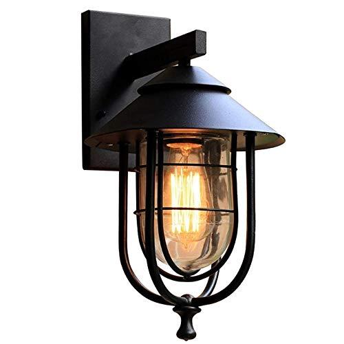 Lámpara de Pared LED Suave y no Deslumbrante Lámpara de Pared de Hierro Forjado Retro Americana Balcón Luz de Pared Exterior Impermeable para Personalidad Café Bar Puerta al Aire Libre